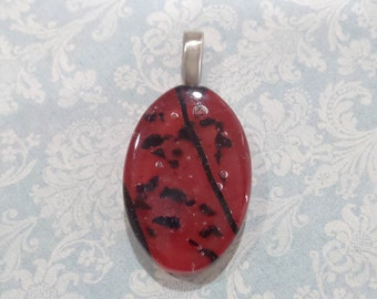 Red Fused Glass Pendant, Necklace Slide, Fused Glass Jewelry, Red and Black Jewelry, Ready to Ship, Glass Fuse -- 4001-6