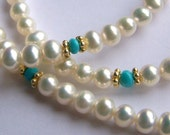 Simple Freshwater Pearl necklace with Sleeping Beauty Turquoise accents, Bali Gold Vermeil Dainty feminine delicate, white blue nuggets