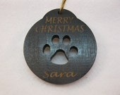 Personalized wooden christmas cut out Paw Print ornament or gift tag