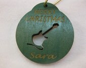 Personalized wooden christmas cut out Guitar ornament or gift tag
