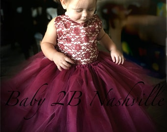 Wine Lace Flower Girl Dress, Wedding Flower Girl  Dress, Wine Tutu Dress, Vintage Dress Baby Dress Toddler Dress Girls Dress Burgundy Dress