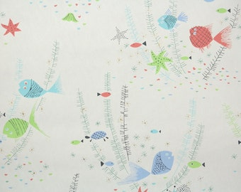 1950s Vintage Wallpaper by the Yard - Retro Bathroom Wallpaper with Pink Blue and Lime Green Fish on White