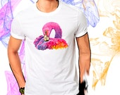Pink Flamingo Watercolor Bird Art T-Shirt Youth and Adult Sizes