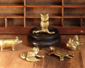 Lot Small Brass Figurines Animals Baby Birds Pig Frog Turtle Owl
