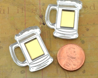 2-FROSTY BEERS- Silver and Gold Mirror Cabochons - flat back cabs- Laser Cut Acrylic