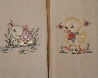 2 Burp Cloths Color Outline of Turtle and Chick Baby Gift Baby Shower READY TO SHIP
