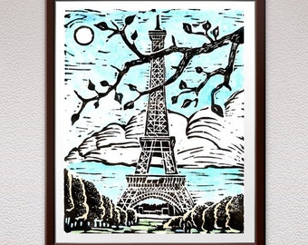Eiffel Tower, Paris, Linocut Print, Block Print, Relief Art Print, Lino Cut Print, Linoleum Print, Girlfriend, Mother's Day, Gift, For Her