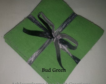 Solid BUD GREEN, FLANNEL Fabric Squares, Rag Quilt, Traditional Quilting, pick size & quantity, We Cut You Sew