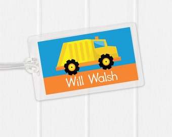 Garbage Truck Bag Tag - Construction Sports Bag Tag - Diaper Bag Tag - Kids Bag Tag Luggage Tag