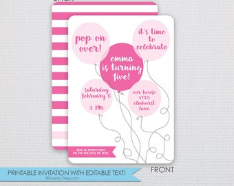 Shades of Pink Balloon Birthday Party Invitation - DIY - Instant Download & Editable File - Personalize at home with Adobe Reader