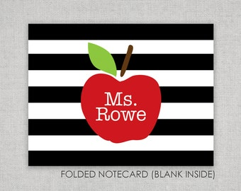 Teacher Thank You Notes - Teacher Gift - Apple - Folded Notecards - Thank you notes