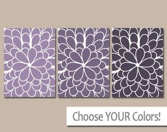 PURPLE Ombre Wall Art, CANVAS or Prints Purple Tones Bedroom Artwork, Bathroom Pictures, Large Dahlia Petals Wall Art Set of 3 Home Decor