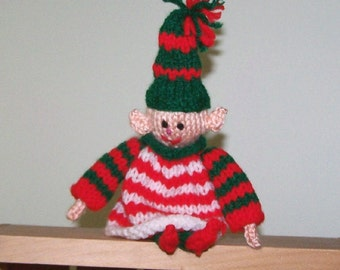 Elf shelf sitter hand knit ornament