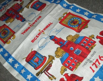 Vintage Red and Blue Bicentennial 1776 Kitchen Linen Tea Towel America