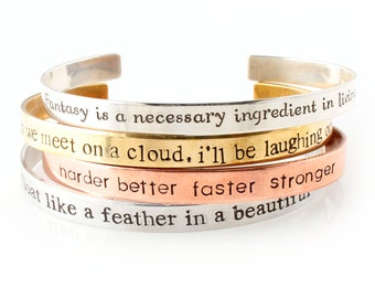 Custom Quote Cuff Bracelet - Personalized Bracelet - Hand Stamped with Your Custom Text