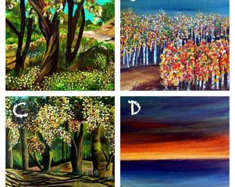 "LANDSCAPES  Framed trees mountains aspens hills Prints art 4""x4"""