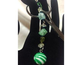 Scissor Fob/Charm - Green/White Striped Ball