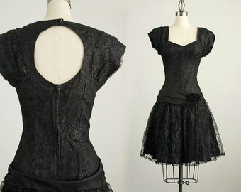 90s Vintage Black Lace Ruffle Mini Dress / Size Small / Medium