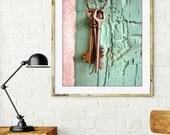 Vintage Keys Photograph /  Pastel Mint Pink Wall Art Print / Old Wooden Door / France Travel Photograph