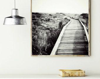 Black And White Photography - Wooden Boardwalk Print - California Landscape - Gray Wall Art -- Begin