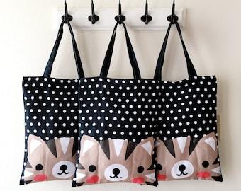 Polka Dot Cat Tote Bag - Kawaii KittyTotebag Purse