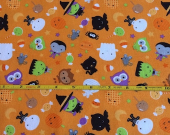 NEW Riley Blake Halloween Toss on Orange cotton lycra knit 1 yard