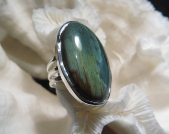 RESERVED for BG  Beautiful Green and Blue Imperial Jasper Ring Size 7.25