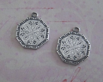 NEW Embossed Silver Charms 3714