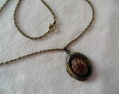 Antique Bronze Tiger Eye Scarab Locket