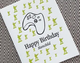 Manchild Birthday - letterpress card