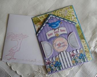 Handmade Mother's Day Card: complete card, handmade, balsampondsdesign, greeting card, birdhouse, large type, shades of green, handmade