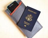 Passport Wallet for Women, Leather Travel Organizer, iPhone Wallet, Passport Holder, Travel Gift - The Stella Wallet in Dark Slate Grey
