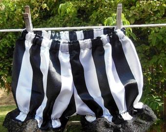 SALE - Ready now! Toddler 2T Black White Stripe Satin Boomers Pirate Circus Master