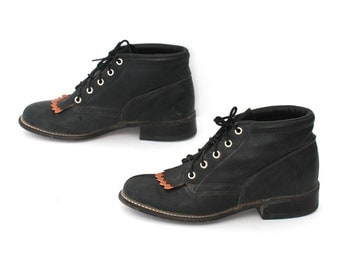 size 7 GRUNGE black leather 80s FRINGE ROPER justin style lace up ankle boots