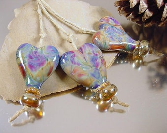 Handmade lampwork glass beads, Artisan glass beads, blue beads, purple beads, green beads, pink bead, heart shaped beads, SRA lampwork beads