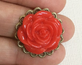 4 pcs of Red resin flower Cabochon with antique brass filigree 25mm, flower cabochon