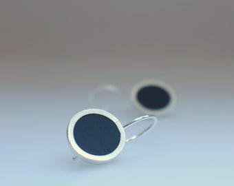 Inky Blue Drop Earrings - Round Silver & Resin Earrings - Pop - Navy Blue Earrings - Gift for Mum