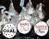 108 Hershey Kiss® Stickers - Santa Candy Christmas Party Favors, Stocking Stuffers, Coal, Naughty or Nice, Santa Kisses