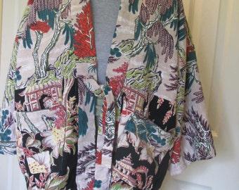 2 Vintage cotton barkcloth Asian theme Hippari jacket in M/L