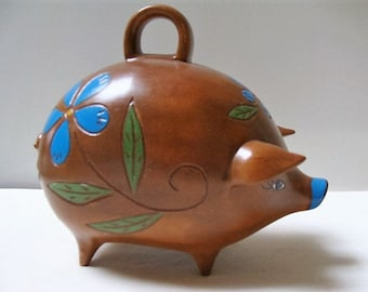 Adorable 60s Piggy Bank Folk Art