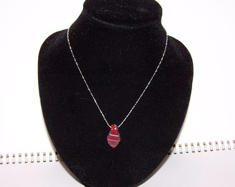 Handmade borosilicate red and blue glass pendant on a 925 sterling silver chain (64)