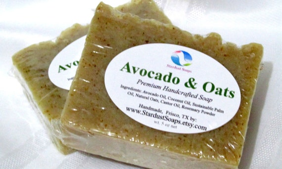 Avocado and Oats Bar Soap (skincare, facial care, lots of lather, eczema, gentle exfoliation, cleansing bar, moisturizing) Stardust Soaps