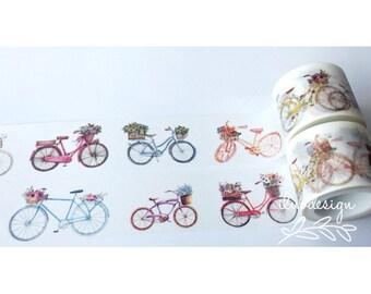 Bicycle With Flower Basket Washi Tape • Bike Washi Tape (184249)