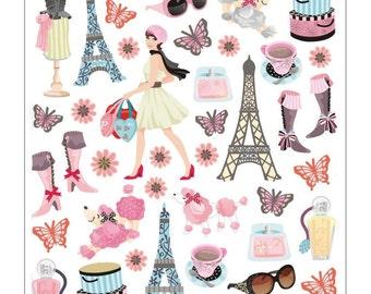 Bonjour Sticker • Paris Eiffel Tower • Poodle Dog (SK4260)