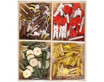 Lara's Painted Wood Mini Clothespin Assorted Garden (72 pieces) (20635)