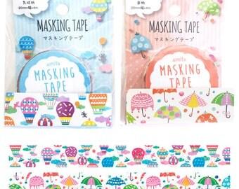 Colorful Sky Washi Tape Set (2 rolls) Amifa Masking Tape • Hot Air Balloon Washi Tape • Umbrella Washi Tape (36497)