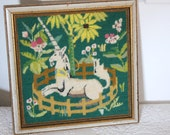 "Vintage Unicorn Medieval Needlepoint // ""Renaissance Unicorn"" in Fenced Corral Floral NEEDLEPOINT Embroidery Canvas Completed & Framed"