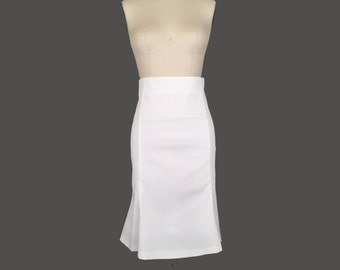 Alena Designs - Heidi - High-waisted Princess Seam Trumpet Fishtail Skirt Knee Length  White Cotton Lycra