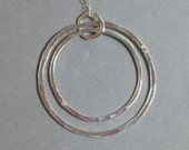 Circles Necklace, Circle in a Circle Necklace, 3 Connected Circles, Sterling Silver Necklace, Hammered, 16 to 18 inch Maggie McMane Designs
