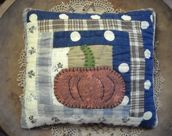 Primitive Small Pumpkin Halloween Pillow From Vintage Antique Log Cabin Quilt Block